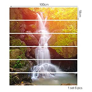 Creative self-adhesive Stair Sticker Personality DIY Forest Waterfall Design Waterproof Stair Sticker Decoration Wallpaper Living Room Bedroom Decoration Stairs Stickers