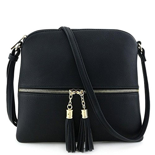 - Lightweight Medium Crossbody Bag with Tassel Black