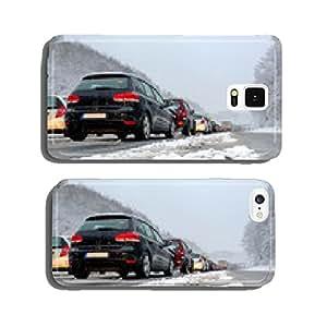 Traffic jam on highway winter snow slush cell phone cover case Samsung S5