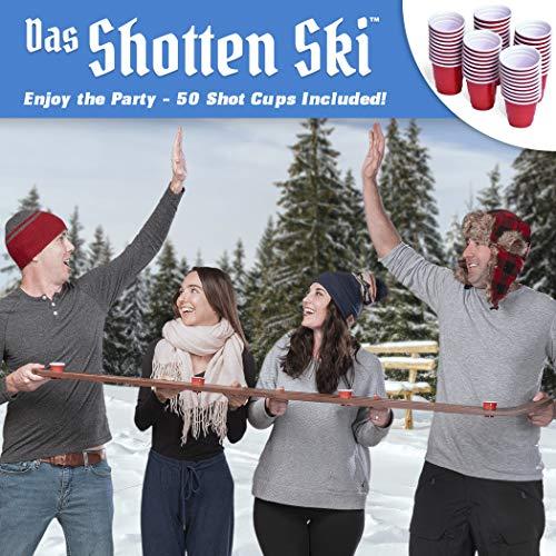 GoPong Das Shotten Ski | Rustic Wood 4 Person Drinking Ski with 50 Plastic Shot Glasses
