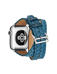 PartsExtra for Apple Watch Band 42mm Series 3, Double-Wrap Woven Strap Luxury Leather iWatch Band Replacement For Apple Watch Series 1 /2 /3 (Double Tour - Blue, 42mm)