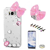 STENES Galaxy S9 Plus Case - Stylish - 100+ Bling - 3D Handmade Heart Rhinestone Pretty Bowknot Design Bling Cover Case with Screen Protector for Samsung Galaxy S9 Plus - Pink