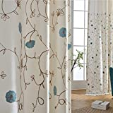 Blackout Curtains Blue Drapes Bedroom - Anady Top 2 Panel Off White Linen Cotton Curtains Room Darkening Drapes for Bedroom 84 inch length (Customized Available)