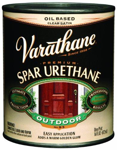 Rust-Oleum Varathane 242184 1-Pint Classic Clear Oil Based Outdoor Spar 275 Voc Urethane, Satin Finish -
