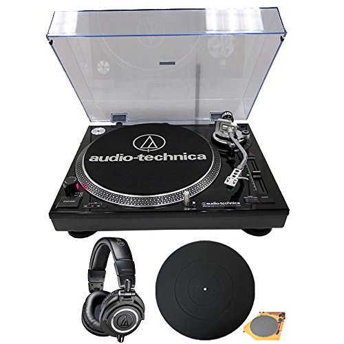Audio-Technica (ATLP120USB Professional Stereo Turntable w/USB LP to DIG Recording Piano Black w/ (ATH-M50X) Professional Studio Headphones + Silicone Deco Gear Universal Turntable Platter Mat