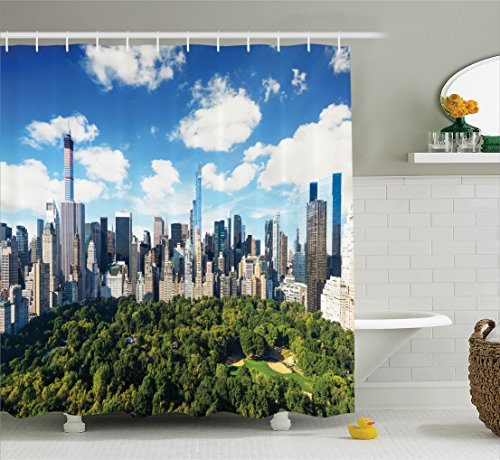 Ambesonne NYC Decor Collection, Central Park View To Manhattan At Sunny Day Skyline Clouds Crowded City Cityscape , Polyester Fabric Bathroom Shower Curtain Set with Hooks, Green Blue White