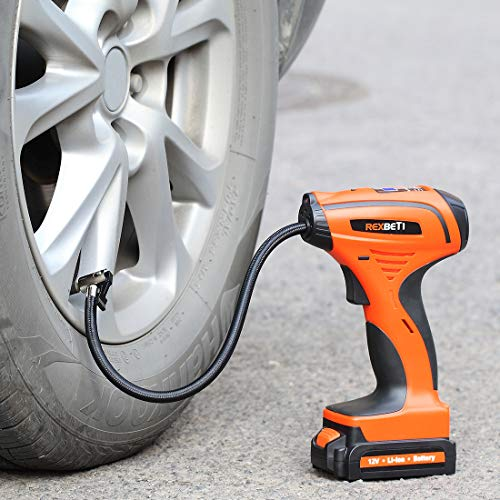 REXBETI Tire Inflator, Portable 12V Cordless Air Compressor for Tires, with Rechargeable Lithium-ion Battery and 12V Car Power Adapter, Easy to Read Digital Pressure Gauge, LED Lighting, 150PSI by REXBETI (Image #1)