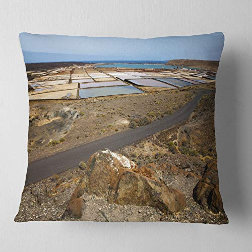Designart CU10727-26-26 Salt in Lanzarote Spain Musk Pond' Seashore Throw Cushion Pillow Cover for Living Room, Sofa, 26'' x 26'' by Designart