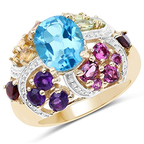 - Huang and Co. 4.42 Carats Genuine Multi-Gemstone Ring Solid .925 Sterling Silver with 18KT Yellow Gold Plating