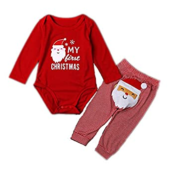 fezrgea baby romper pajama sets my first christmas santa long sleeve xmas jumpsuit tops long pants