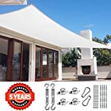 Quictent 26 X 20 ft 185G HDPE Rectangle Sun Shade Sail Canopy 98% UV Block Outdoor Patio Garden with Free Hardware Kit (White)