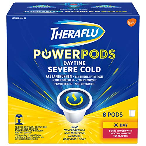 Theraflu PowerPods Daytime Severe Cold Medicine, Berry with Menthol & Green Tea Flavors, 8 count (Best Over The Counter Severe Cold Medicine)