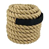 ZENY Twisted Manila Rope 1.5'' X 50 FT Fitness/Undualation Workout Climbing Jump Battle Rope 3 Strand w/Shirk End Caps