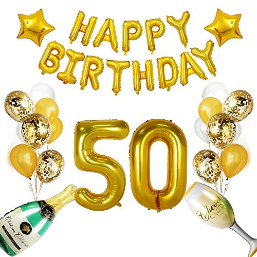Happy 50th Birthday Balloon - 50th Birthday Decoration Balloon,Happy 50th Birthday Gold Bunting Banner, 50th Gold Number Balloons,Number 50, Perfect 50 Years Old Party Supplies with Champagne Balloon Party Set (Gold 50 Balloons)