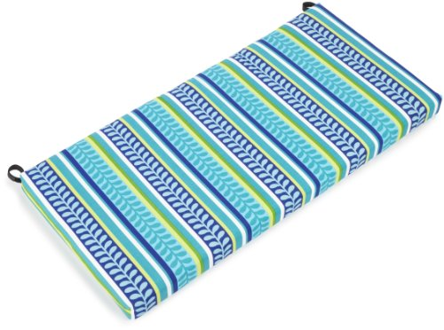 Blazing Needles Outdoor Spun Poly 19-Inch by 42-Inch by 3-1/2-Inch Bench Cushion, Pike Azure (Indoor X 35 Bench Cushion 19)