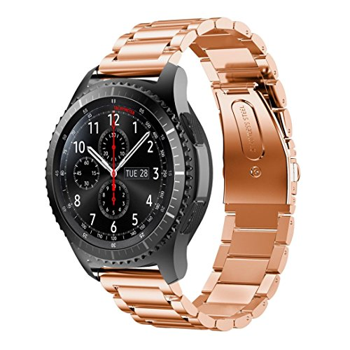 Paymenow Stainless Steel Watch Band Replacement Band Wrist Strap Wristband Replacement Strap Bracelet for Samsung Gear S3 Frontier (Rose Gold)