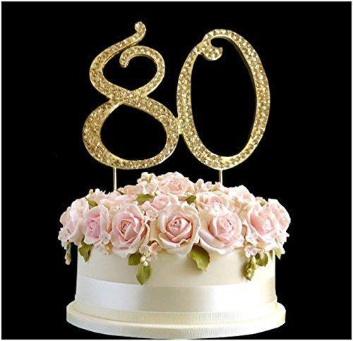 80 Gold Rhinestone Crystal Birthday Cake Topper Number Pick 80th Diamante Gems Decoration