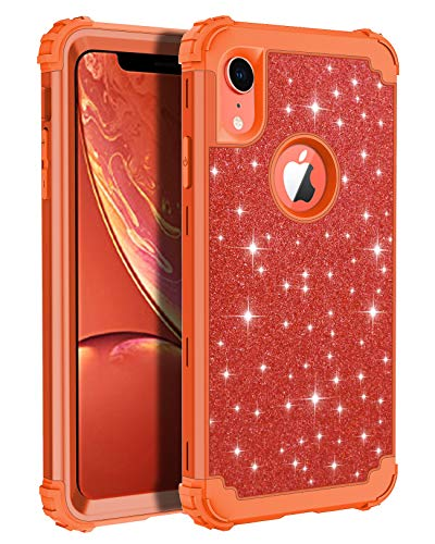 Lontect Compatible iPhone Xr 2018 Case Glitter Sparkle Bling Heavy Duty Hybrid Sturdy Armor High Impact Shockproof Protective Cover Case for Apple iPhone Xr 6.1