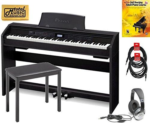 Casio PX780 Privia 88-Key Digital Home Piano TMS Pro Bundle, Black