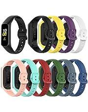 (10-pack) Chofit bandjes compatibel met Samsung Galaxy fit 2 SM-R220 riem, klassieke vervangende zachte siliconen sportarmband armband voor Galaxy fit 2 SM-R220 Fitness Tracker