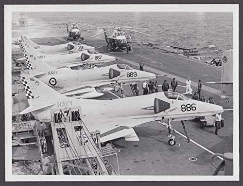 Royal Australian Navy A-4G Skyhawk jets Wessex helicopters on carrier photo 1970