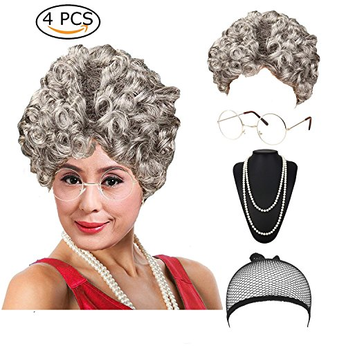 Women's Cosplay Costume Old Lady Wig, w/Round Glasses & Pearl Necklace Beads Costume Accessories for Dress up Perform (Old Lady Adult Wig)