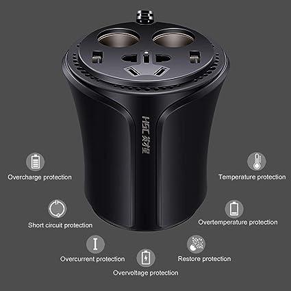 HSC-108A Inversor de corriente para autom/óvil Taza multifunci/ón con forma de coche Cargador 3.1A Encendedor de cigarrillos Divisor con interruptor independiente