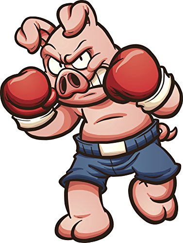 Angry Aggressive Boxing Fighting Animal - Pig Vinyl Decal Sticker (12