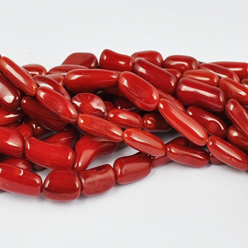 Red Coral Tube (JUSTGIFTGEM Red Coral Beads Gemstone Tube Loose Beads Round seeds beads chip Bulk Wholesale Beads Handmade DIY for jewelry making (12mm x 4mm Red Coral Rice tube 34 beads))