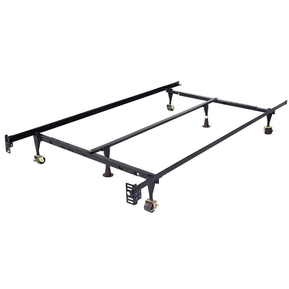 Toolsempire Heavy Duty Size-Adjustable Metal Bed Frame with Center Support and Rug Rollers,Low Profile Bed Frame Adjustable Width Fits Twin/Full/Queen, Black