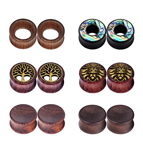 (IU Mode 6Pairs Natural Organic Wood Hollow Double Flared Flesh Tunnels Ear Expander 11/16