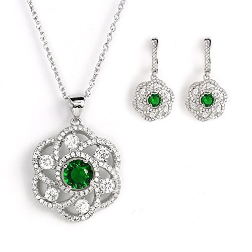 United Elegance - Sparkling Floral Inspired Silver Tone Set with Faux Emerald and Swarovski Style Crystals from United Elegance