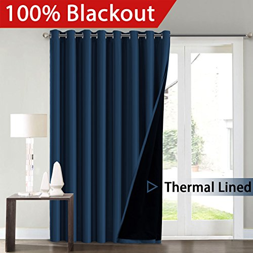 FlamingoP Full Blackout Navy Wide Patio Door Curtains Faux Silk Satin with Black Liner 100 x 84 Inch Thermal Insulated Window Treatment Panels, Antique Bronze Grommet Top