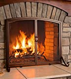 Plow & Hearth Arched Top Flat Guard Fireplace Screen with Doors, Large - Black
