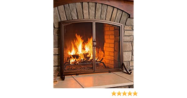 Bronze Plow /& Hearth Arched Top Flat Guard Fireplace Screen with Doors Small