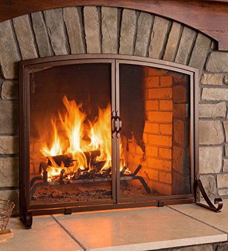 Plow & Hearth Arched Top Flat Guard Fireplace Screen with Doors, Small - Bronze
