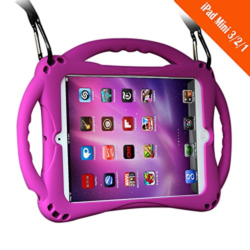 TopEs iPad Mini Case Kids Shockproof Handle Stand Cover&(Tempered Glass Screen Protector) for iPad Mini, Mini 2, Mini 3 and iPad Mini Retina Models (Purple)