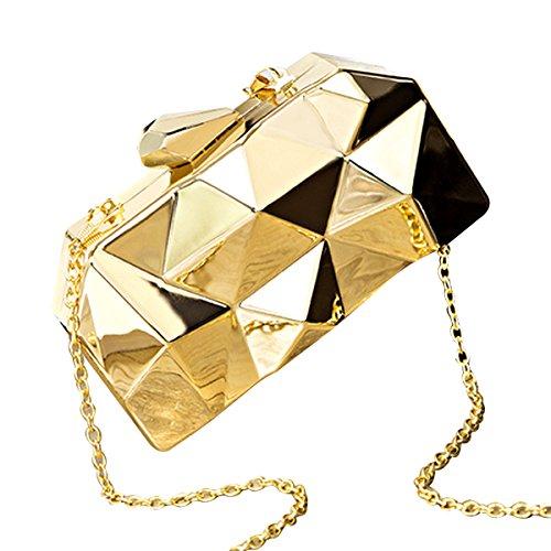 Fashion Girls Pattern Handbag Metal Purse Women Clutch Gold Metal Lattice Bling tw6w5q