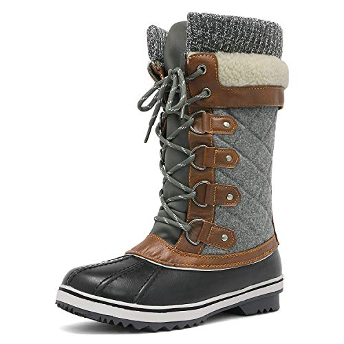 DREAM PAIRS Women's Monte_02 Black Grey Mid Calf Winter Snow