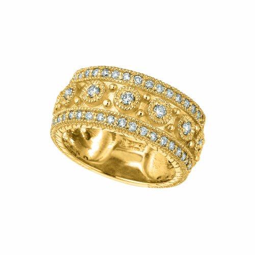 - 14k Yellow Gold Diamond byzantine Ring - 1.15ctw. Diamond