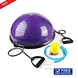 Bosu Ball Balance Trainer Strength Equipment Yoga Endurance Workout Weight Loss Fitness Abdominals Core Back Legs Stability 2 Resistance Bands One Foot Pump Exercise Safety