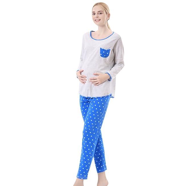 YAANCUN Mujer Enfermería Pijama 2 en 1 Pijamas de Maternidad Sueño Camiseta Pantalón Pijama Ropa de