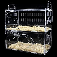 Toparchery Transparent Acrylic Pet Animals Hamster Clear View House 2 Tiers Castle Rat Mouse Cage Villa (Type D)