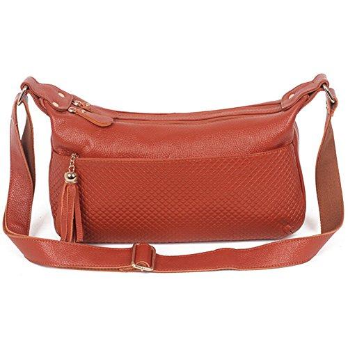 New Style Korean Version Fashion Genuine Leather Women's Shoulder Bag Messenger Bag Slanting Cross-body Bag (brown)