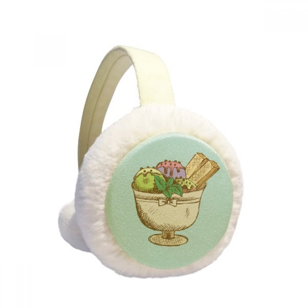 Leaves Biscuit Cup Ice Cream Ball Winter Earmuffs Ear Warmers Faux Fur Foldable Plush Outdoor Gift