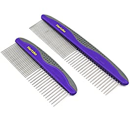 Hertzko 2 Pack Pet Combs Small & Large Comb Included for Both Small & Large Areas -Removes Tangles, Knots, Loose Fur and Dirt. Ideal for Everyday Use for Dogs and Cats with Short or Long Hair