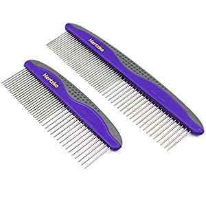 Hertzko 2 Pack Pet Combs Small & Large Comb Included for Both Small & Large Areas -Removes Tangles, Knots, Loose Fur and Dirt. Ideal for Everyday Use for Dogs and Cats with Short or Long Hair 11