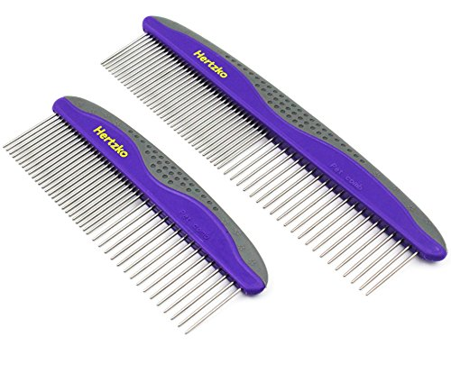 2 Pack Pet Combs by Hertzko  Small & Large Comb Included for Both Small & Large Areas -Removes Tangles, Knots, Loose Fur and Dirt. Ideal for Everyday Use for Dogs and Cats with Short or Long Hair