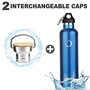 Fnova Insulated Stainless Steel Water Bottle with 2 Caps, Double Walled Vacuum Flask, Standard Mouth, BPA-Free, Cold 24 Hrs / Hot 12 Hrs (blue, 35oz)
