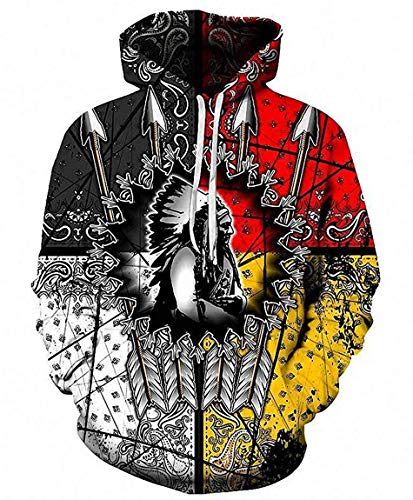 Ideasuke Original Unisex Harajuku Realistic 3D Digital Print Pullover Hoodie Native American Chief Hooded